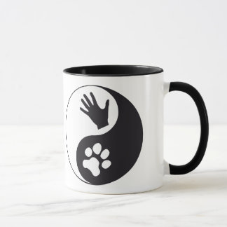 Yin and Yang with hand and paw Mug