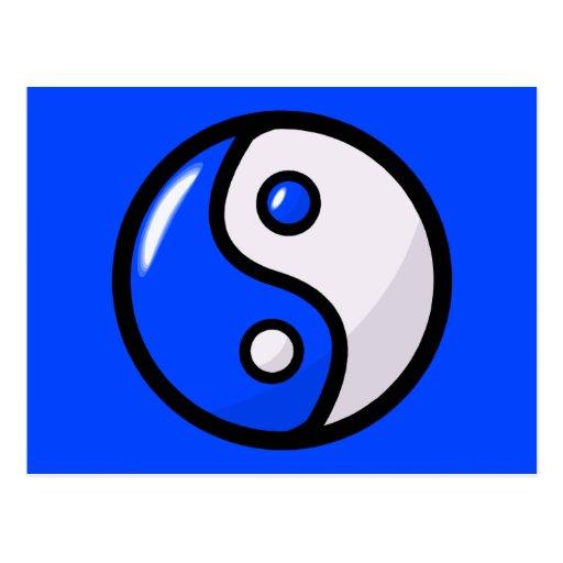 Yin bleu brillant Yang dans l'équilibre Carte Postale