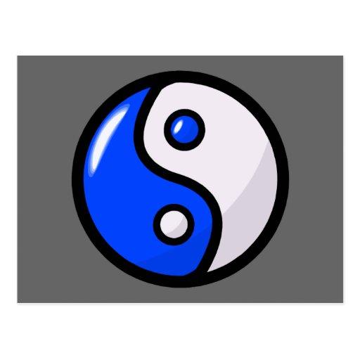 Yin bleu brillant Yang dans l'équilibre Cartes Postales
