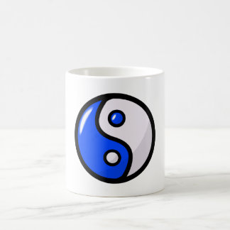 Yin bleu brillant Yang dans l'équilibre Mug Blanc