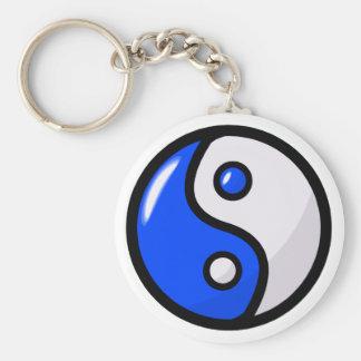 Yin bleu brillant Yang dans l'équilibre Porte-clé Rond