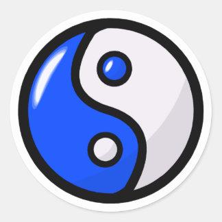 Yin bleu brillant Yang dans l'équilibre Sticker Rond