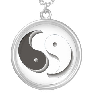 Yin Yang 3D Silver Plated Necklace