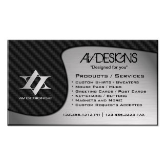 Yin Yang Abstract Carbon / Brushed Aluminum Pack Of Standard Business Cards