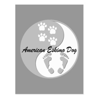 yin yang american eskimo dog postcard