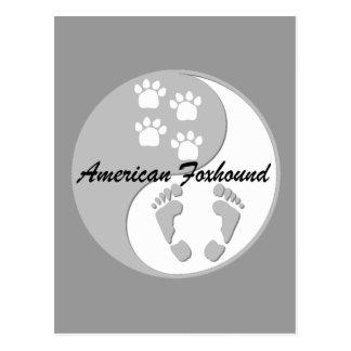 yin yang american foxhound postcard