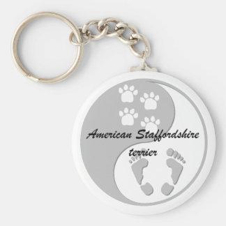 yin yang american staffordshire terrier basic round button keychain