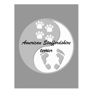 yin yang american staffordshire terrier postcard