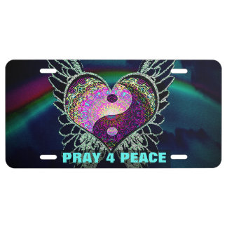 Yin Yang, Angel Wings, Heart Pray for Peace License Plate