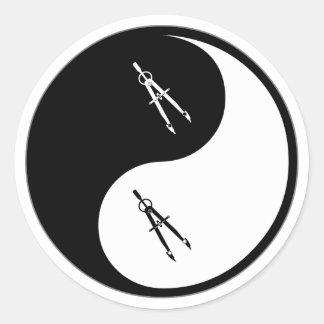Yin Yang Architecture Classic Round Sticker