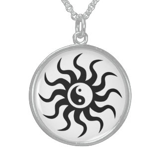 Yin-Yang Aztec Symbol/Black and White Sterling Silver Necklace