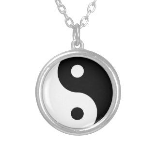 yin yang Basic Line Silver Plated Necklace