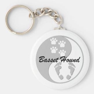 yin yang basset hound keychain