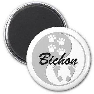 yin yang bichon 2 inch round magnet