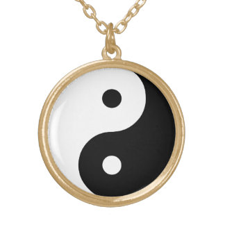 Yin Yang Black and White IllustrationTemplate Gold Plated Necklace