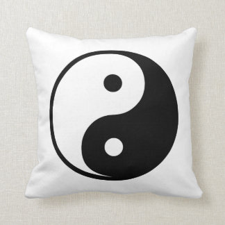 Yin Yang Black and White IllustrationTemplate Throw Pillow