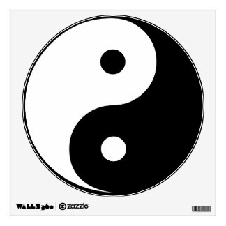 Yin Yang Black and White Illustration Template Wall Decal