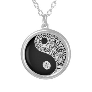 Yin Yang Black and White Lace Silver Plated Necklace