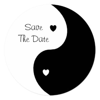 Yin Yang Black And White Save The Date Wedding Card