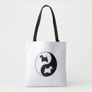 Yin & Yang Black and White Scotties Tote Bag
