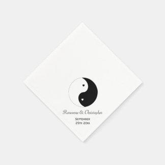 Yin Yang Black And White Wedding Paper Napkin