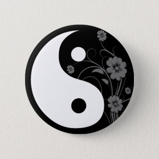 Yin Yang Black Floral Button