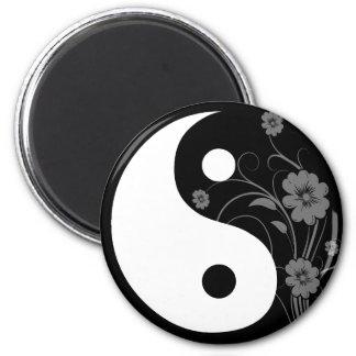 Yin Yang Black Floral Magnet