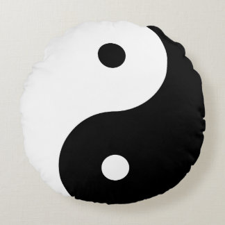 Yin Yang - black Round Pillow