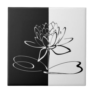 Yin Yang Black White Lotus Blossom Tile
