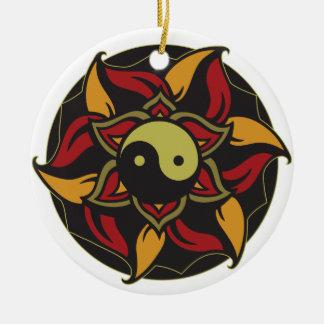 Yin Yang Blooming Lotus Ceramic Ornament