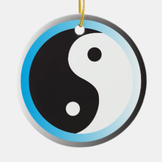 Yin Yang (blue) Ceramic Ornament
