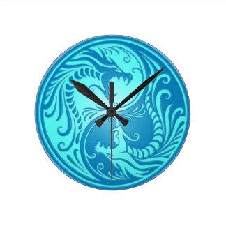 Yin-Yang Blue Chinese Dragons Round Clock