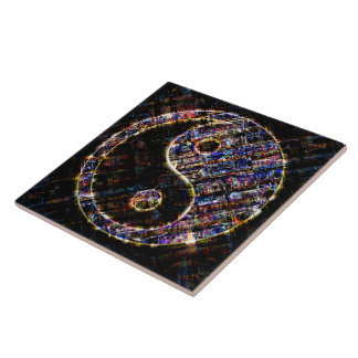 Yin Yang Blue Metal Fire Tile