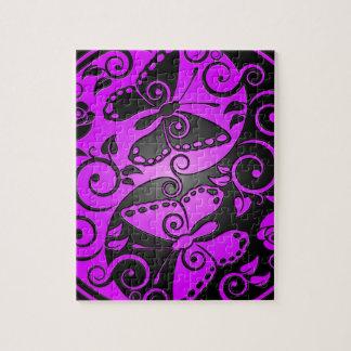 Yin Yang Butterflies, purple & black Jigsaw Puzzle