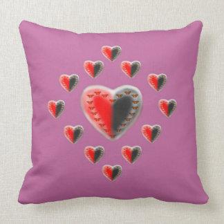 Yin Yang butterfly hearts pink Throw Pillow