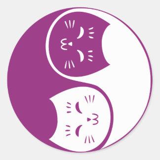 Yin Yang Cats in Plum Classic Round Sticker