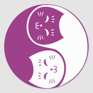Yin Yang Cats in Plum Round Sticker