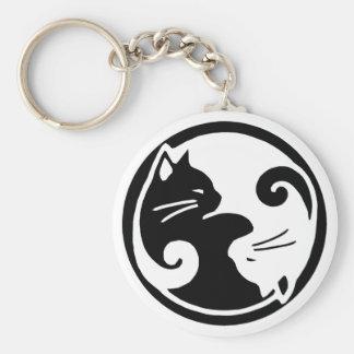 Yin Yang Cats Basic Round Button Keychain