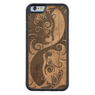 Yin Yang Cats with Wood Grain Effect Maple iPhone 6 Bumper Case