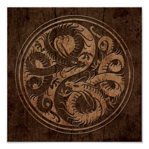 Yin Yang Chinese Dragons with Wood Grain Effect Poster