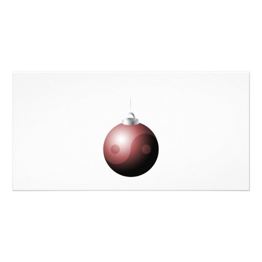 Yin Yang Christmas Ball in Red Photo Cards