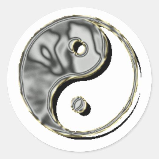 Yin Yang Chrome Classic Round Sticker