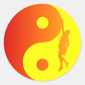 Yin & Yang Climber (Sunburst) Classic Round Sticker