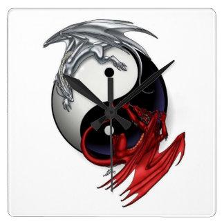 Yin Yang Clock: Fire and Ice Dragons Square Wall Clock