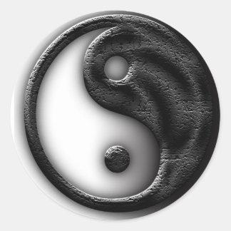 Yin Yang Cracked Classic Round Sticker