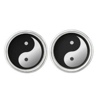Yin Yang Cufflinks, Silver Plated Cuff Links
