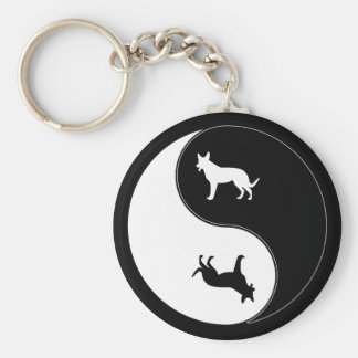 Yin Yang Dog Keychain