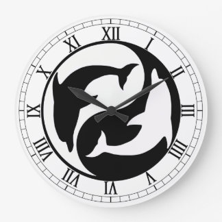 Yin Yang Dolphins Round Roman Numerals Clock
