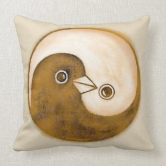 Yin yang doves, gold and buff a stunning cushion