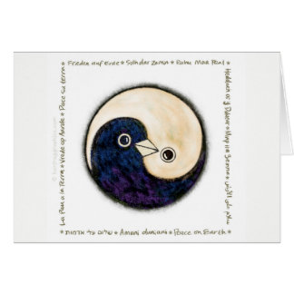 Yin Yang doves peace multilingual Greeting Card